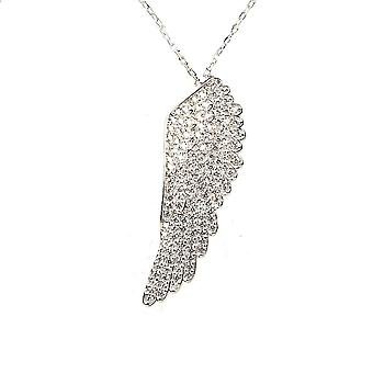 Latelita Angel Wing Pendant Necklace 925 Sterling Silver Rose Gold CZ Feather
