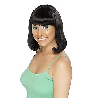 Средний длинная черная сторона партии GoGo девушки парик