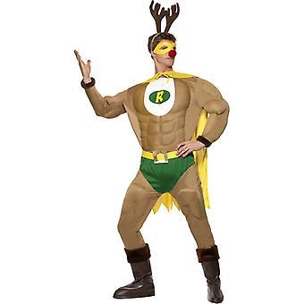 Super Rentier Muskelanzug Weihnachten Rentierman Superheld