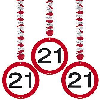 Spiralen Girlande 3 St. Verkehrsschild Zahl 21 Geburtstag Rotorspiralen