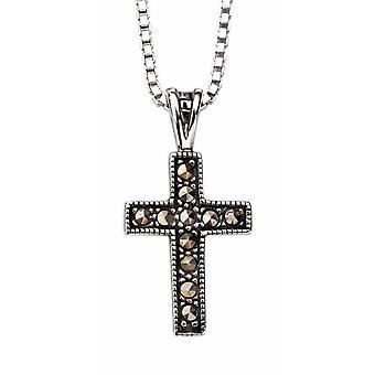 925 Silver Marcasite Cross Pendant Necklace