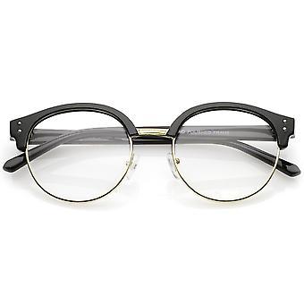 Classic Horn Rimmed Round Clear Lens Half Frame Eyeglasses 50mm