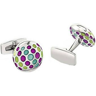 Duncan Walton Yordas Luxury Rhodium Plated Cufflinks - Purple/Teal