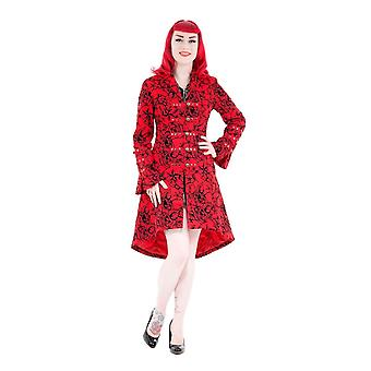 H&R Red Fitted Long Tattoo Flock Coat 22