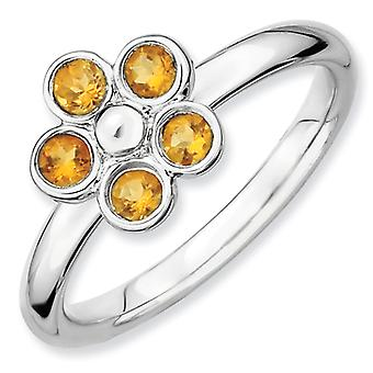 Sterling Silver Bezel Polished Rhodium-plated Stackable Expressions Citrine Flower Ring - Ring Size: 5 to 10