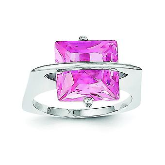 Sterling Silver Solid Rhodium-plated 11mm Pink Cubic Zirconia Ring - Ring Size: 6 to 8
