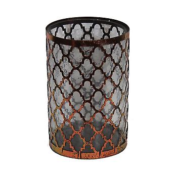 Distressed Brown Finish Quatrefoil Design Metal and Glass Candleholder 10.5X7 In