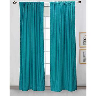 Turquoise Rod Pocket  Velvet Curtain / Drape / Panel  - Piece