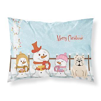 Merry Christmas Carolers engelsk Bulldog hvitt stoff Standard putevar