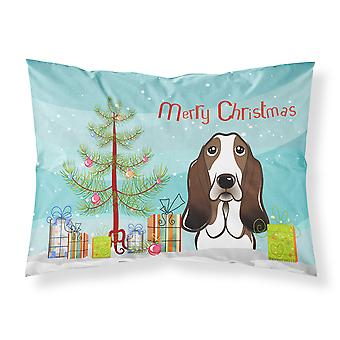 Christmas Tree and Basset Hound Fabric Standard Pillowcase