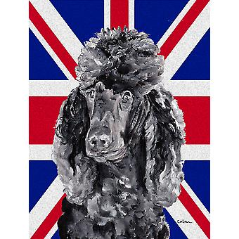 Black Standard Poodle with English Union Jack British Flag Flag Garden Size