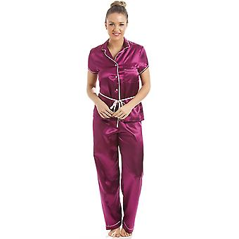 Camille Fuchsia Pink Short Sleeve Belted Satin Pyjama Set