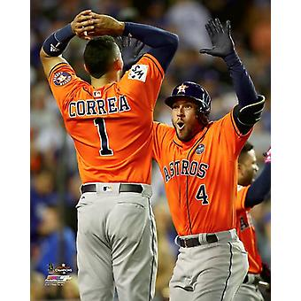Carlos Correa & George Springer celebrate Springers Home Run Game 7 of the 2017 World Series Photo Print