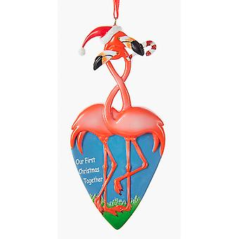 Flamingo par vores første jul sammen ferie Ornament harpiks