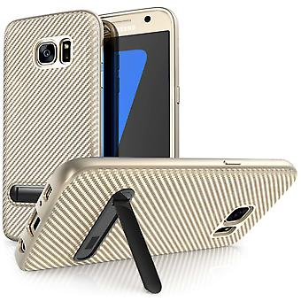 Samsung Galaxy S7 Carbon Fibre Gel Case With Stand - Gold