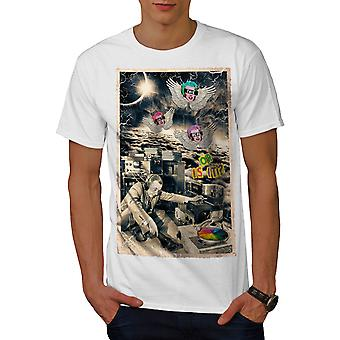 Not Real Life DJ Music Men WhiteT-shirt | Wellcoda