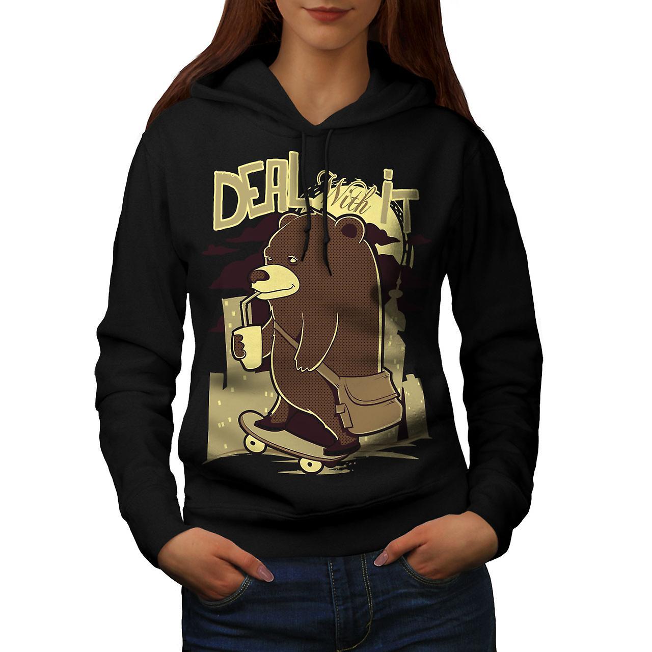 Deal It Bear Funny Women Black Hoodie | Wellcoda