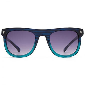 Hook LDN Latitude Chunky Retro Acetate Sunglasses In Blue To Turquoise Gradient