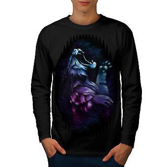 Night Tiger Beast Men BlackLong Sleeve T-shirt | Wellcoda