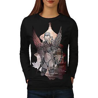 Cyborg Warrior Fantasy Women BlackLong Sleeve T-shirt | Wellcoda