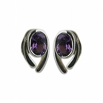 Silver 11x8mm Earrings set with 7x5mm Amethyst