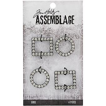 Tim Holtz Assemblage Links 4/Pkg-Round & Square Jeweled Frame Links THA20136
