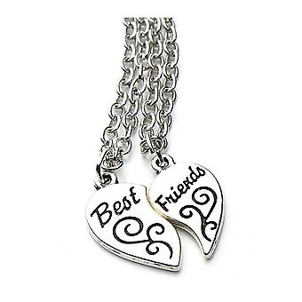 Womens Best Friends Pendant Necklace Set Two Halves Love Heart