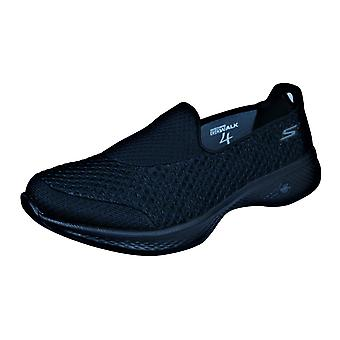Womens Skechers Walking Trainers Go Walk 4 Kindle Slip on Shoes - Black