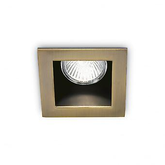Ideal Lux Funky Square Ceiling Recessed Downlight With Off Set Bezel, GU10, Bronze