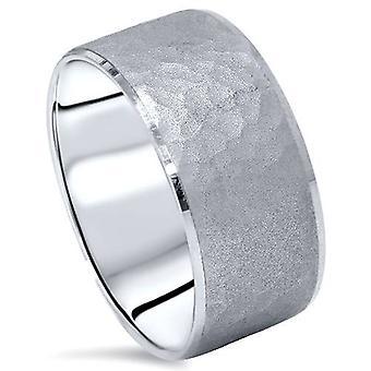 Hammered Beveled Wedding Band 14K White Gold