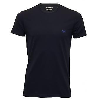 Emporio Armani Kopier - stripete Logo strekke bomull Crew-hals t-skjorte, grå blanding