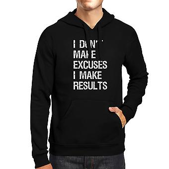 Excuses Results Unisex Black Pullover Hoodie Cute Workout Gym Gifts
