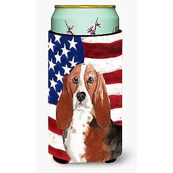 Patriotic USA Basset Hound Tall Boy Beverage Insulator Hugger
