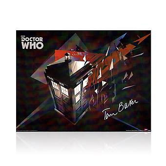 Tom Baker Signed Dr Who Tardis Poster