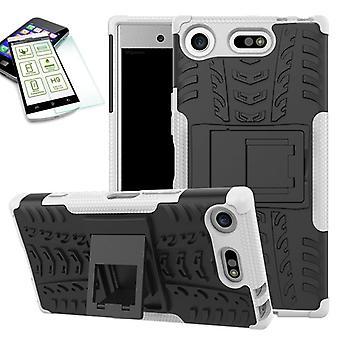 Hybrid sag 2 stykke hvid til Sony Xperia XZ1 kompakt / mini taske case + hærdet glas