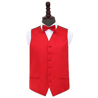 Colete de cetim casamento vermelho liso & conjunto de gravata borboleta