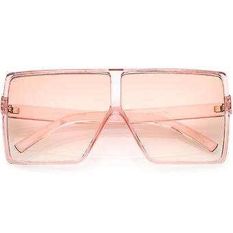 Super Oversize Translucent Square Sunglasses  Flat Top Color Tinted Flat Lens 69mm