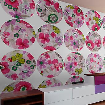 Fotomural - Pink meadow - circle