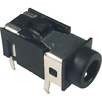 3.5 mm audio jack Socket, horizontal mount Number of pins: 4 Stereo Black Cliff FC68129 1 pc(s)