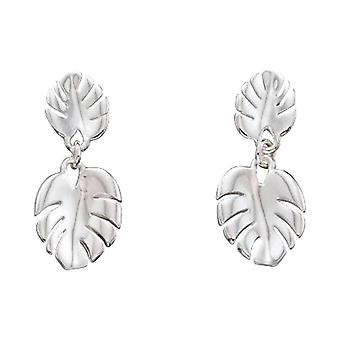 Elements Silver Cheese Plant Leaf Drop Earrings - Silver
