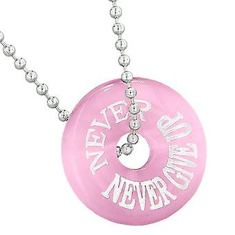 Inspiration Never Never Give Up Amulet Lucky Charm Donut Pink Simulated Cats Eye 18 Inch Necklace