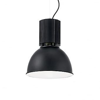 Ideal Lux Hangar Industrial Black Dome Pendant, 32cm
