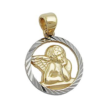 Guardian Angel pendant gold 375 children's jewellery pendant Angel motif bicolor 9 KT