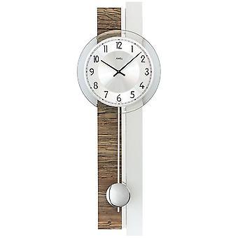 AMS 7438 wall clock quartz with pendulum silver wood walnut colour pendulum clock