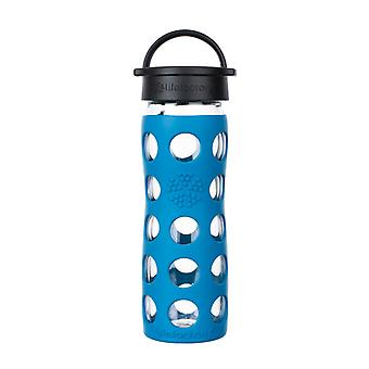 Lifefactory 16 oz Glass Water Bottle Classic Cap and Silicone Sleeve Teal Lake