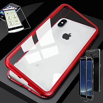 Para Apple iPhone XS MAX 6.5 pulgadas de metal magnético / bolsa caso rojo / transparente + 0,26 mm H9 duro cristal de vidrio