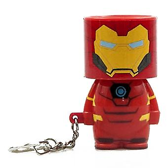 Marvel clip on key trailer iron man with LED look-ALite, printed, sturdy ABS plastic, in blister packs.