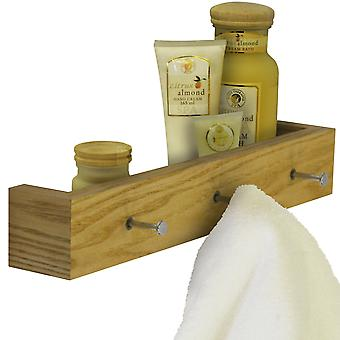 Ellis - Wood Wall Mounted 40cm Floating Shelf With 3 Hooks - Oak