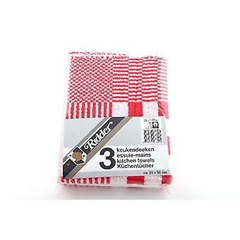 Keukendoek blok 50x50 rood s/3