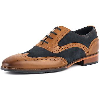 Goodwin Smith Kirk Tan Leder/Navy Suede Mens Brogue Schuhe